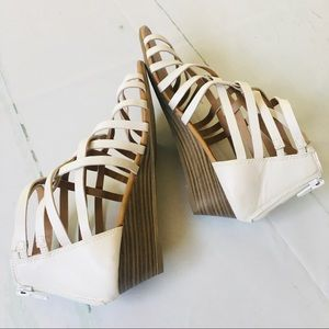 Seychelles White Small Wedge Heeled Sandals